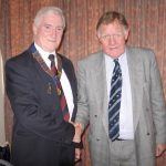 Chairman Jim Mulvey with Bernard Ingham, Margaret Thatcher's Press Secretary.  2005