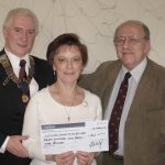 Peter Babler receiving a cheque from the Chairman's Charity.  Coulsdon Centre For the Retired 2006